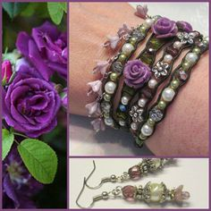 VIOLET ROSE 4x Beaded Leather Wrap Bracelet, Purple Roses Crystals Czech Glass Pearls, Boho Vintage Style Handmade Jewelry, Ravengirl Design