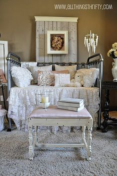 white/vintage bedroom, white-washing tutorial..I liked how she white washed but with color! So pretty how it still showed the wood grain