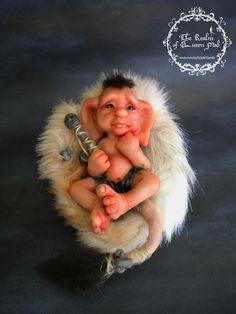 Faerie Creatures. Baby Troll with tortoiseshell bassinet. Fantasy Art figure.