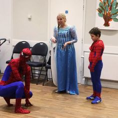 Spiderman makes an appearance this combination Frozen/Superhero party!