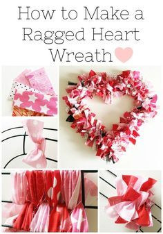 This heart-shaped rag wreath is so cute for Valentine's Day! Use scrap fabric or rag strips to create this DIY rag wreath tutorial Simple Simon & Co. Diy Valentines Day Wreath, Valentines Day Decorations, Valentine Day Crafts, Valentine Ideas, Printable Valentine, Homemade Valentines, Valentine Box, Holiday Crafts, Funny Valentine
