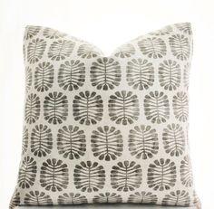 Block Print Inspired Pillow Cover, Handmade, Black, Gray, White, Various Sizes, 18x18, 20x20, 22x22