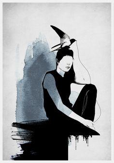 Siv Storøy │ Limited edition Art Prints by Norwegian artist Siv Storøy Japan Art, Wings, Batman, Art Prints, Superhero, Illustration, Artist, Fictional Characters, Live