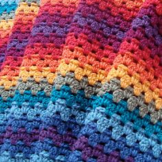 Granny Stripes pattern by Lucy of Granny Stripe. I love the way the colors change over with no jarring contrasts right together. Crochet Motifs, Crochet Blocks, Afghan Crochet Patterns, Crochet Granny, Crochet Stitches, Knitting Patterns, Rainbow Crochet, Love Crochet, Beautiful Crochet