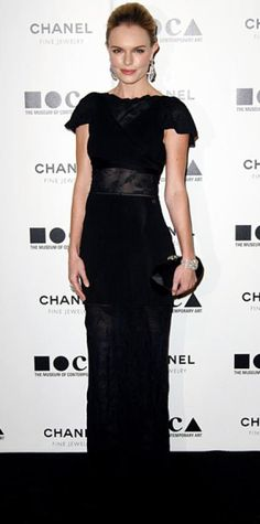 Look of the Day › November 15, 2010 WHAT SHE WORE Bosworth wore a lace-trimmed black Chanel gown with a structured clutch and diamond accessories.
