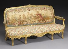 A suite of Louis XV style giltwood and tapestry upholstered seat furniture