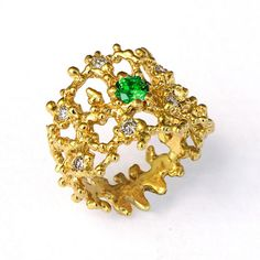 CORAL Gold Emerald Ring Green Emerald Engagement  Ring by AroshaTaglia, $350.00