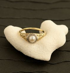 Antique Edwardian Pearl Ring by 24KGreen on Etsy