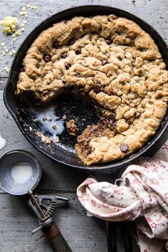 Whole Wheat Chocolate Chip Skillet Cookie | halfbakedharvest.com #cookie #healthy #dessert