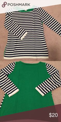 """Liz Claiborne blue n green knitted top Navy stripped front green back, bust 16"""" length 22"""" sleeve length 18"""" spring, fresh, comfort, weekend, day. First picture for modeling purpose only - last two pictures actual item. Liz Claiborne Tops"""