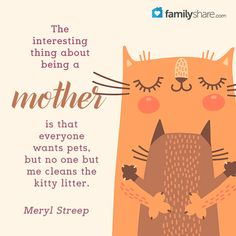 The interesting thing about being a mother is that everyone wants pets, but no one but me cleans the kitty litter. - Meryl Streep