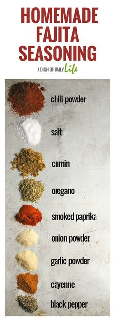 This Fajita Seasoning Recipe is perfect for chicken beef shrimp and vegetables either as a dry rub or a marinade! You can make at home in 5 minutes with ingredients you already have in your spice cabinet and it tastes better than the store bought pack Homemade Fajita Seasoning, Seasoning Mixes, Chicken Fajita Seasoning Recipe, Vegetable Seasoning, Nature's Seasoning Recipe, Chicken Fajitas Marinade Recipe, Fajita Rub Recipe, Vegetarian Recipes, Steak Marinades