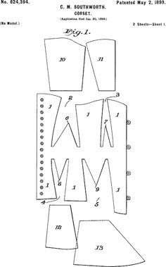 Corset patent pattern diagram, 1899. Click through to see an illustration of the finished corset.