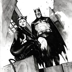 "Batman and Catwoman - _____________OlivierCoipel____ (@_____________oliviercoipel___) on Instagram: ""Batman#37 cover ! The black and white AND color version by o senhor Dave Stewart!!( SWIPE mother***…"""