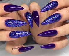 Glitter Stiletto Nails 💜 by MargaritasNailz from Nail Art Gallery Fabulous Nails, Gorgeous Nails, Pretty Nails, Perfect Nails, Hot Nails, Hair And Nails, Nagel Gel, Purple Nails, Creative Nails