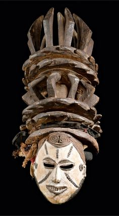 Africa | Mask from the Igbo people of Nigeria | Wood, pigment and textile