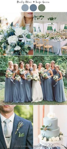 dusty blue and sage green wedding color ideas