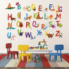 Repositionable Kids Room Wall Stickers Playroom Printed Wall Decals - 26 Alphabet Animals Sticker - Animals Stickers Cow Gater Unicorn Horse