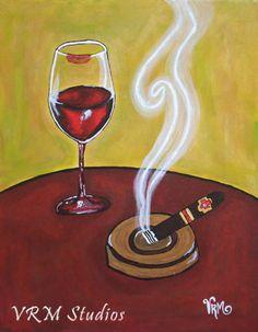 $19.99 - Wine and Smoke - original mexican folk art print - by Veronica Ramirez Miller - wine art - cigar art - gift for her - bar art - happy hour - fine art print