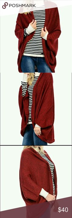Bellino Cozy Cardigan Bellino red open cardigan.  Brand new with tags. 100% Acrylic makes it cozy and warm!  One size:  Fits size S - 1XL.  Makes a great gift, as sizing is not an issue!  Same Day / Next Day Shipping! Bellino Clothing Sweaters Cardigans