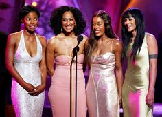 Jill Marie Jones, Tracee Ellis Ross, Golden Brooks and Persia White onstage at the 35th Annual NAACP Image Awards at the Universal Amphitheatre on March 6, 2004, in Los Angeles