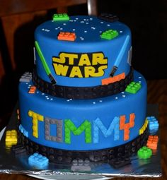 Star Wars Lego Cake This Is A Lemon Cake With Lemon Buttercream Covered With Mmf All The Legos And Other Details Are Also Made From Mmf