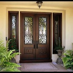 New Double Door Entryway Front Porches Decorating Ideas Ideas Double Front Entry Doors, Iron Front Door, Wood Front Doors, Front Door Entrance, Door Entryway, The Doors, Modern Entrance Door, Front Entrances, House Entrance