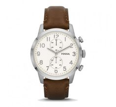 Fossil 'Townsman' Round Leather Strap Watch, A subdial duo accents the clean, round dial of this handsome watch finished with a supple leather strap. Cheap Watches For Men, Mens Watches For Sale, Cool Watches, Wrist Watches, Fossil Leather Watch, Brown Leather Strap Watch, Leather Watches, Mens Watch Brands, Fossil Watches