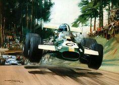 1969 Nordschleife.  Germán GP Jacky Ickx (Brabham) & Jackie Stewart (Matra)