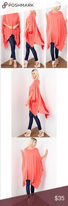 Just In❤ Coral Tunic Poncho Coral ultra-soft and flowing, loose fit poncho tunic. Can be worn as a tunic top or a dress. Asymmetrical hemline. Edgy and sophisticated yet comfy. Great as a beach cover up too. 95% Rayon 5% Spandex. Made in USA. ONE SIZE FITS XSMALL- XXL SoChic Tops Tunics