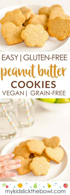 Easy gluten free peanut butter cookies healthy chewy grain free the best cookies for kids! Gluten Free Recipes For Kids, Low Sugar Recipes, No Sugar Foods, Baby Food Recipes, Family Recipes, Chicken Recipes, Gluten Free Peanut Butter Cookies, Peanut Cookies, Healthy Cookies