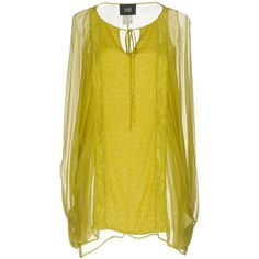Class Roberto Cavalli Blouse (575 CAD) ❤ liked on Polyvore featuring tops, blouses, acid green, embroidery blouses, long sleeve blouse, green long sleeve blouse, lace up blouse and v neck blouse