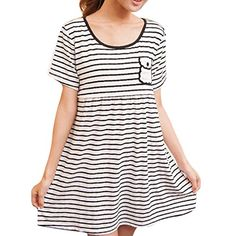 Maternity Nursing Women Striped Short Sleeve Round Collar Dress Size XL White *** Learn more by visiting the image link. (This is an affiliate link and I receive a commission for the sales) Nursing Wear, Maternity Nursing, Collar Dress, Striped Shorts, Round Collar, Image Link, Short Sleeve Dresses, Note, Amazon