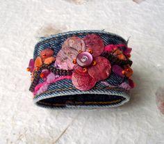 Flowery Beaded Jean Cuff Bracelet by TammyRoseDesigns on Etsy, $35.00