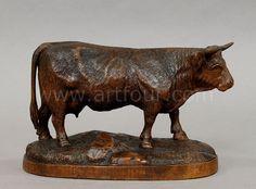 velké vyřezávané ze dřeva kráva, švýcarský Brienz ca.  1900