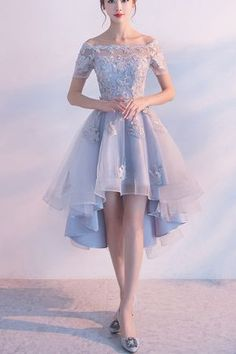High low prom dress, off the shoulder prom dress, cute blue lace bridesmaid dress with sleeves