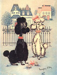 vintage poodle art