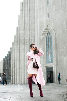 Tweet Happy Wednesday everyone! Pinks and burgundies in Reykjavik, Iceland. Three layers on top and two on the bottom (thick wool high socks are a must!), I wore this outfit on the warmest day when