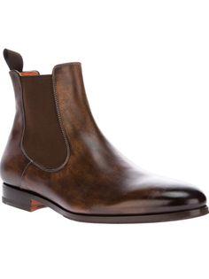 Santoni Brown Chelsea Boot for men Older Mens Fashion, Mens Fashion Shoes, Fashion Boots, Men's Fashion, Me Too Shoes, Men's Shoes, Shoe Boots, Shoes Men, Gentleman Shoes