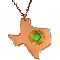 Texas Bullet Necklace Show your love for Texas with this copper Texas charm with a 45 caliber brass plated bullet top with green turquoise cabochon. The necklace measures 18 inches with a copper chain and lobster clasp. If you prefer a different length, just add your request in checkout.