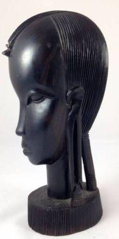 Vtg-Hand-Carved-African-Sculpture-Hardwood-Ebony-Female-Head-Tribal-Bust-Figure