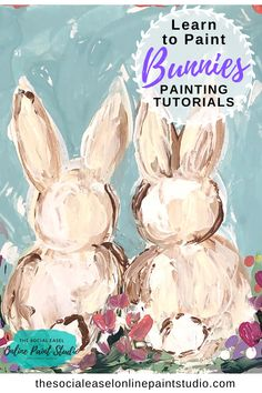 Paint These Super Cute Bunnies! The Social Easel Online Paint Studio Acrylic Painting Tutorials - Learn how to paint these adorable Bunnies! No experience needed! Learn how to use a pallet knife to create this simple rustic look! Acrylic Painting For Beginners, Acrylic Painting Lessons, Easy Canvas Painting, Simple Acrylic Paintings, Spring Painting, Acrylic Painting Tutorials, Painting Studio, Beginner Painting, Acrylic Painting Animals