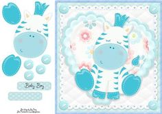 Adorable Blue Zebra by Amy Perry Adorable Blue Zebra in gorgeous heart and lace frame with corner buttons, also has decoupage and choice of tag Welcome New Baby, Printable Crafts, New Baby Boys, Quick Cards, Decoupage, Baby Cards, New Baby Products, Knitting Patterns, Card Making