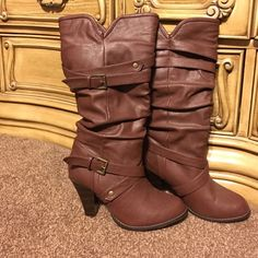 Flash Sale! Like new heeled brown boots These super cute heeled boots are a brownish reddish color. Very stylish. Buckle accent on side (see picture). Excellent condition! Rampage Shoes Heeled Boots