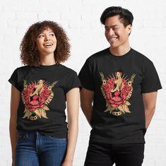 Promote   Redbubble Dragon Illustration, T Shirt Flowers, Trending Art, Red Dragon, Animal Heads, My T Shirt, Female Models, Classic T Shirts, Shirt Designs