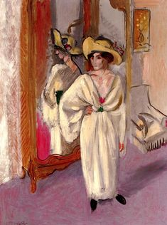 Woman in White in front of a Mirror Henri Matisse - circa 1918-1919