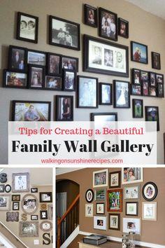 How to Create a Family Wall of Photos | Walking on Sunshine Recipes #diyhomedecor #familyphotos #gallerywall #galleryart