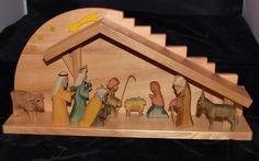 Vintage Erzgebirge Wooden Nativity Set 9 Pcs w/ Creche  w/ Original Box  | eBay