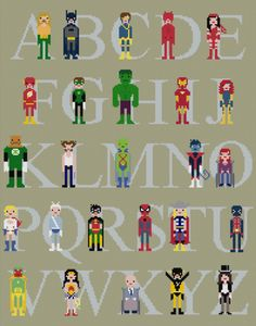 Cross-stitched Superheroes (and Villains) by WeeLittleStitches