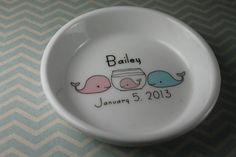 CUSTOM Ceramic Dish for Baby  Mom Baby Dad  by aphroditescanvas